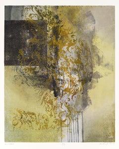 """RLP 1870B"", monoprint, oil, leaf, pattern, yellow, ochre, purple, grey"