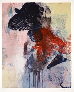 """RLP 1891"", monoprint, oil, silkscreen, abstract, blue, black, red, pink, grey"