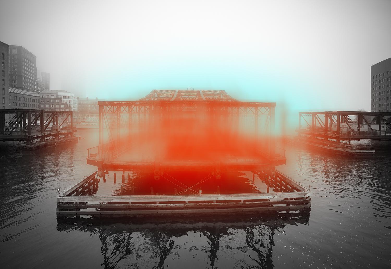 """""""Bridge with Orange and Phthalo Blue 8:24am"""", photo, landscape, black and white"""