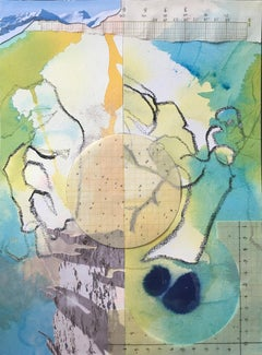 """""""A Different Plateau"""", surreal, collage, acrylic, pastel, aqua, yellow, green"""