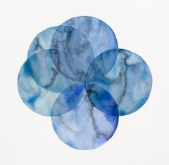 """""""Convergence 30"""", watercolor, painting, circles, geometry, monochromatic, blue"""