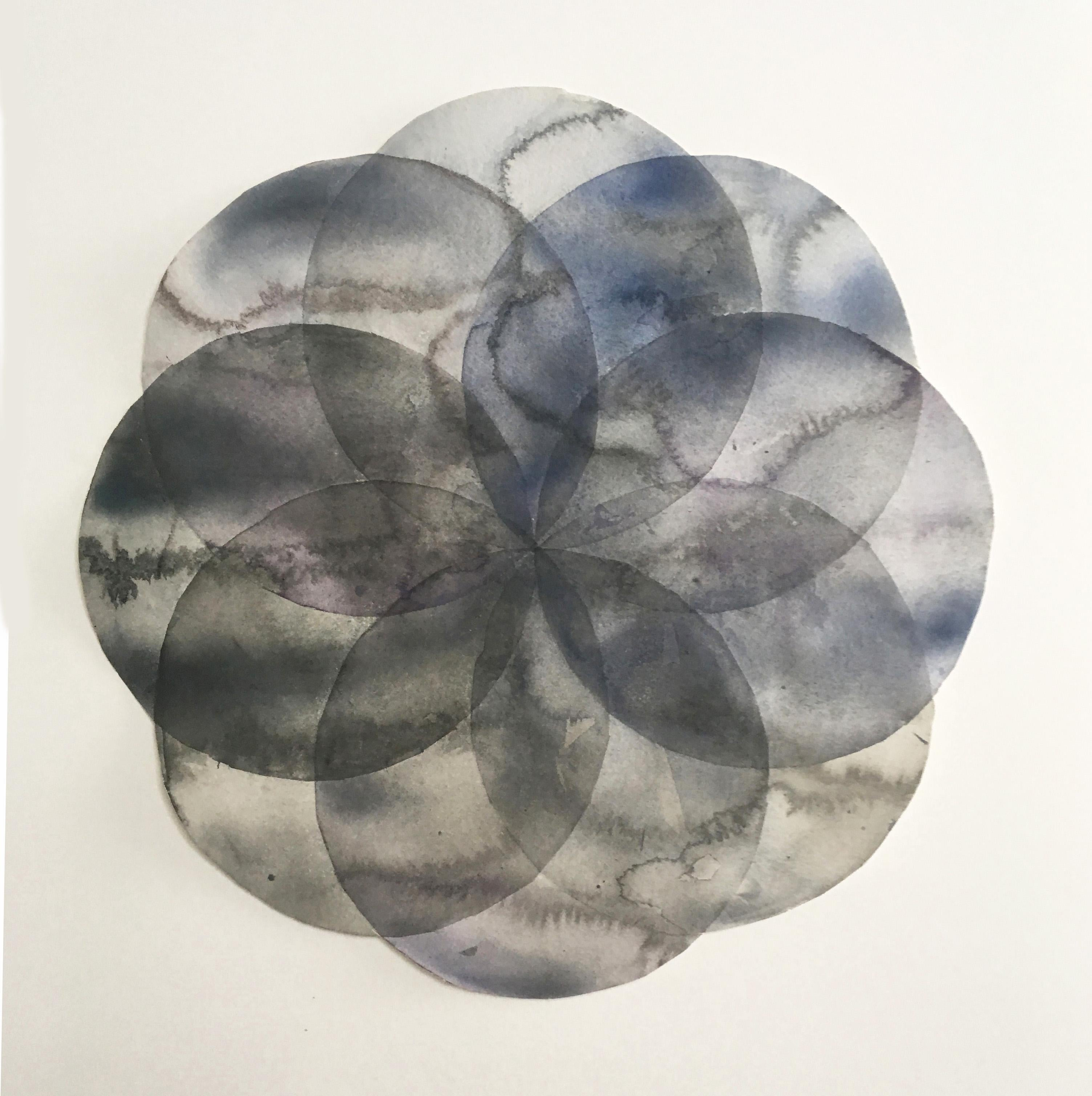 """""""Convergence 10"""", watercolor, painting, circles, geometry, greys"""