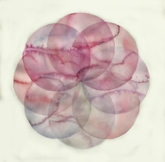 """""""Convergence 12"""", watercolor, painting, circles, geometry, pink"""