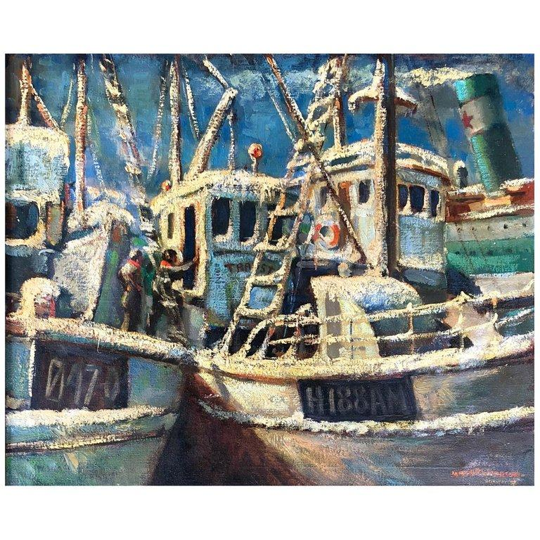 Beach Landscape With Fishermen: Fishing Boats In Norway, Painting For Sale