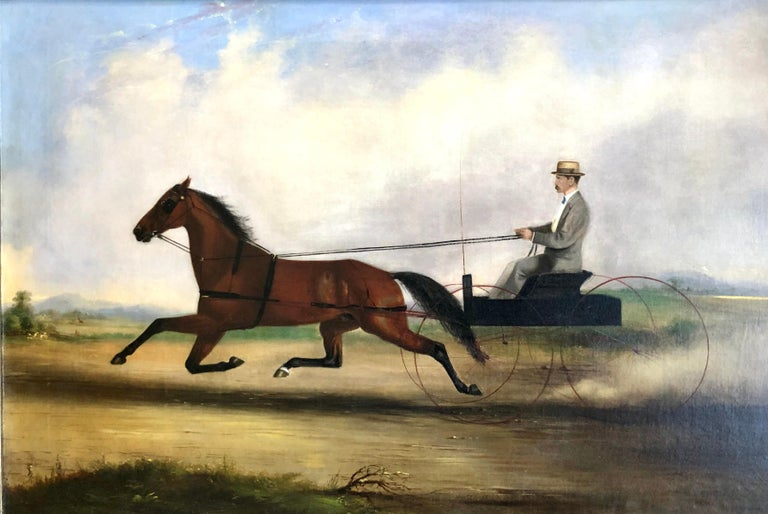Rare 19th century painting of a man is a buggy trotting quickly. Oil on canvas signed and dated 1872 lower center. Measures: 21