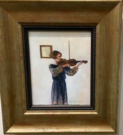 Portrait of a young English woman playing the Violin in an interior