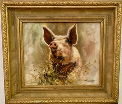 English Impressionist Pig or Piglet running