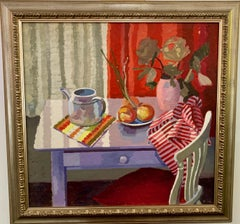 English Interior Still-life of Teapot, table and chair, fruit and flowers 1950s