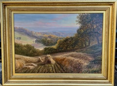 English Victorian 19th century Summer Harvest landscape