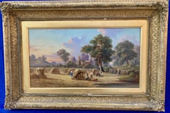 19th century Antique English Victorian Summer Harvest landscape, with figures.