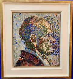 Mid century European Pointillist portrait of a man