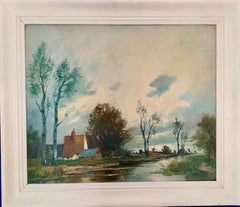 Early 20th century Impressionist Dutch River Landscape
