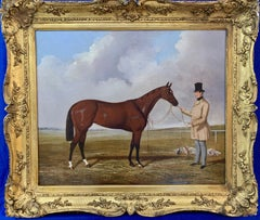 Victorian 19th Century English Race Horse and Owner by a Race Track
