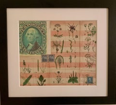 American flag collage with 19th century botanicals hand colored in watercolor