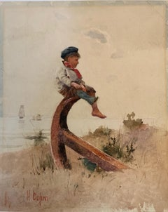 British Victorian sailor boy seated by the sea on an anchor