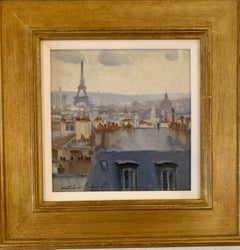 French roof top scene, with the Eiffel Tower, Paris , France, Impressionist