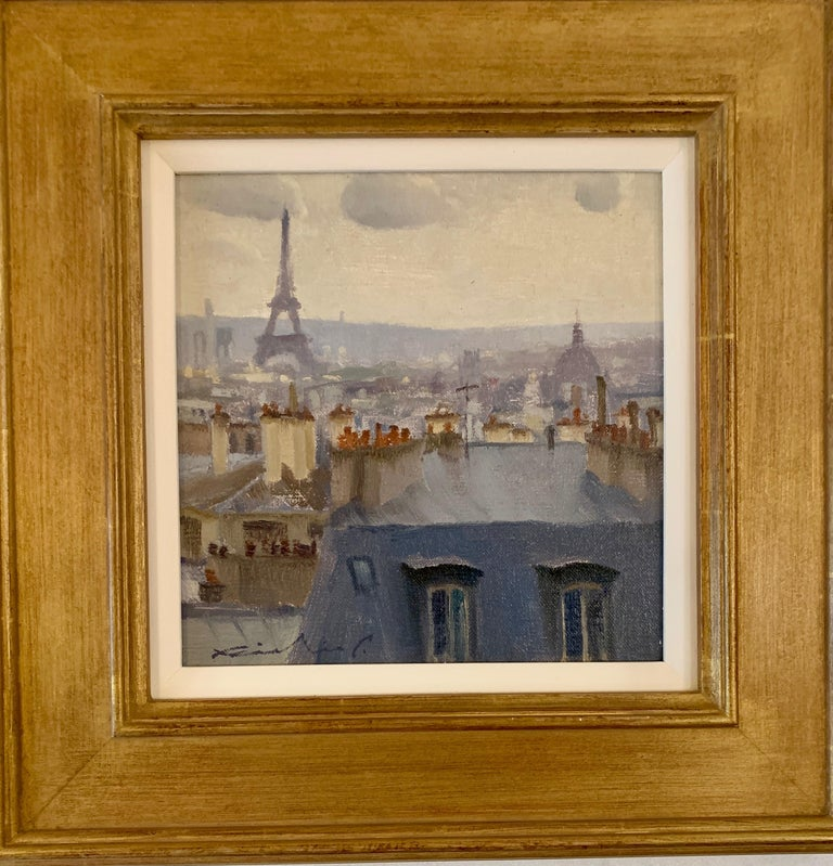 Richie Carter Landscape Painting - French roof top scene, with the Eiffel Tower, Paris , France, Impressionist