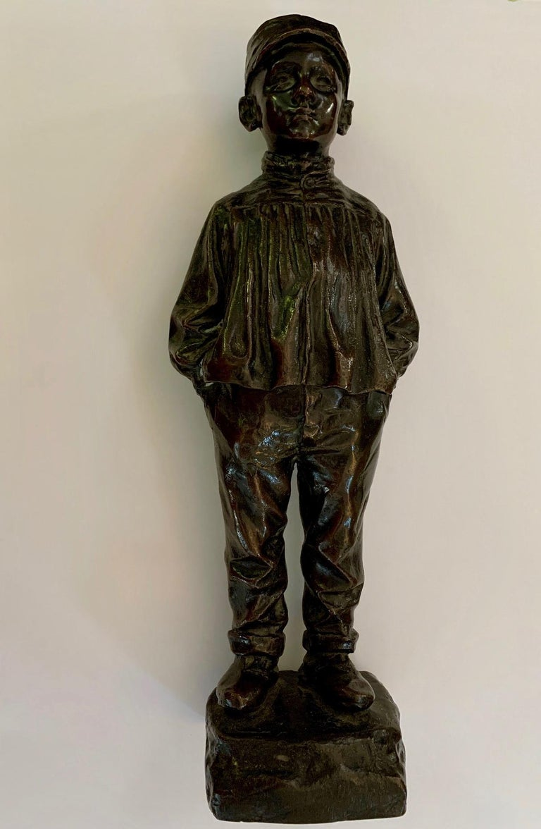 Julio Marti Figurative Sculpture - Bronze Spanish naturalistic 19th century sculpture of a young boy