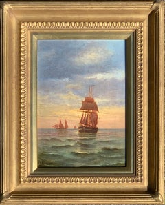 French 19th century Victorian Shipping scene at Sunset
