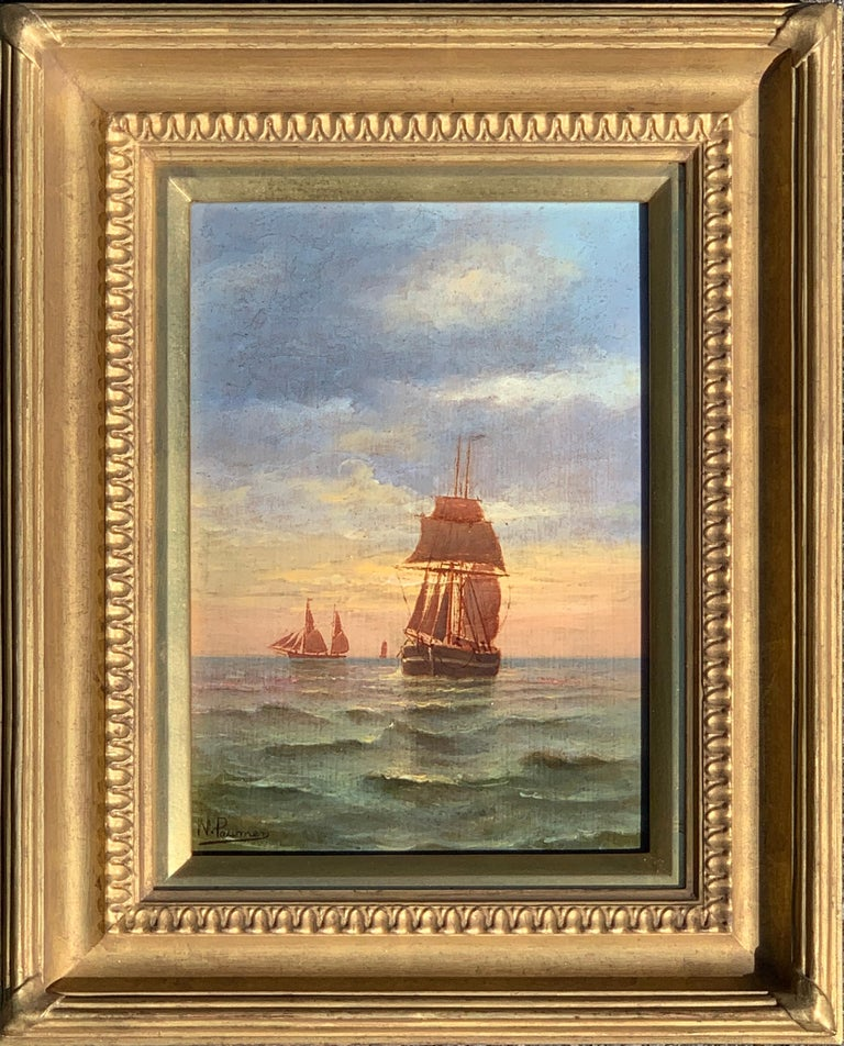 N. Pauman Landscape Painting - French 19th century Victorian Shipping scene at Sunset