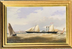 Victorian British Portrait of the Steam Paddle ship Slesvig flying a Danish flag