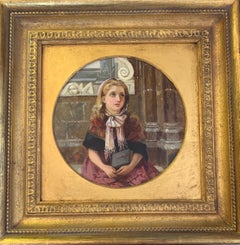 Victorian  Oil Portrait of a little girl at church on Sunday Morning
