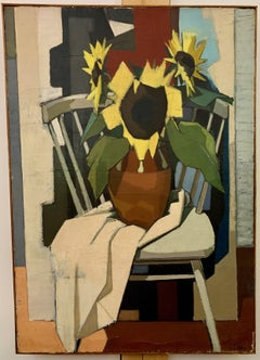 Cubist 1950's mid century still life of Sunflowers in an interior