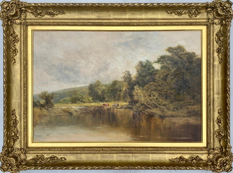 Attributed to Henry H Parker Landscape Painting - An English Victorian 19th century River Landscape , with cattle and trees
