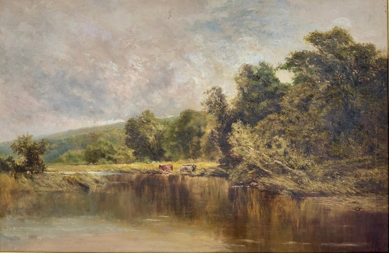 An English Victorian 19th century River Landscape , with cattle and trees - Painting by Attributed to Henry H Parker