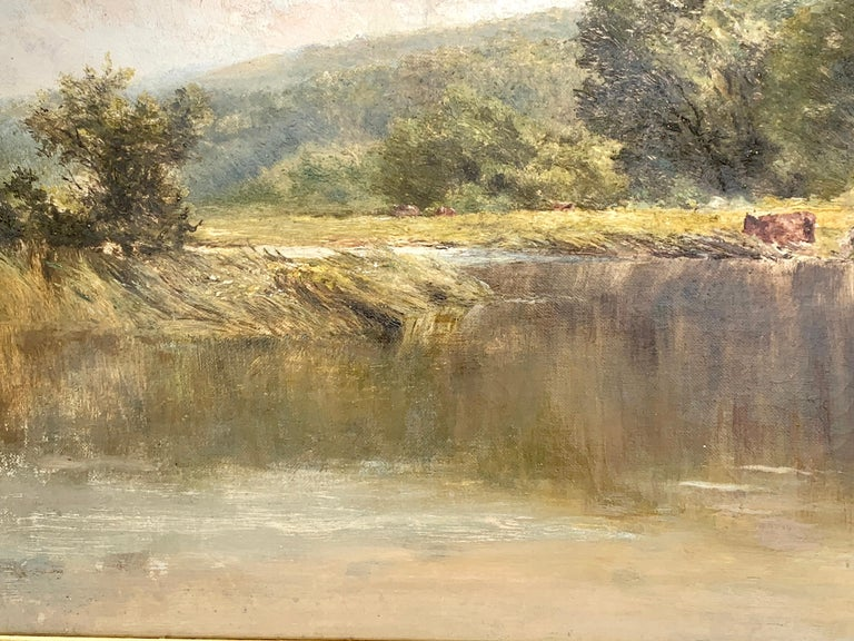An English Victorian 19th century River Landscape , with cattle and trees - Brown Landscape Painting by Attributed to Henry H Parker