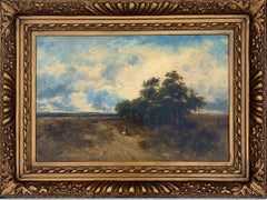 English Victorian 19th century Landscape with figures resting in heathland