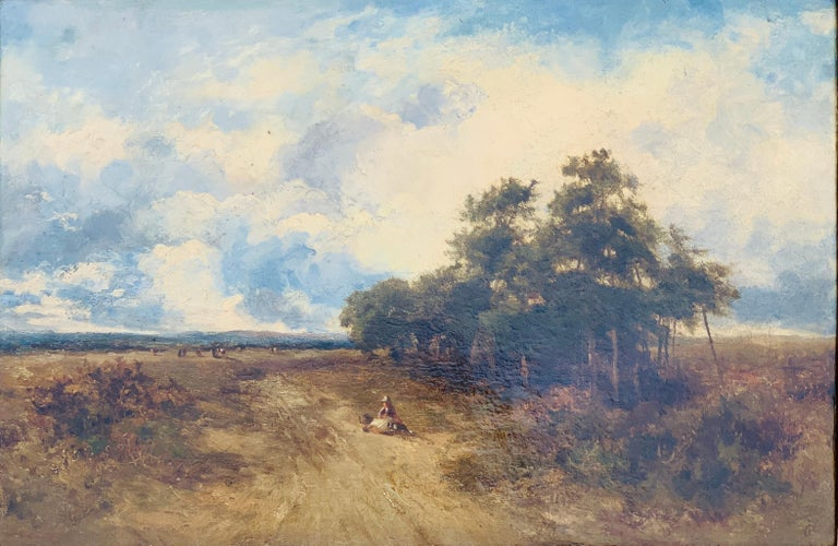 English Victorian 19th century Landscape with figures resting in heathland - Painting by Carl Brennir