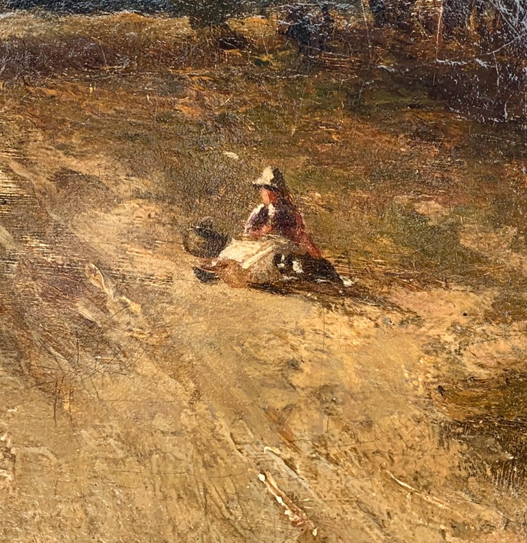 English Victorian 19th century Landscape with figures resting in heathland - Brown Figurative Painting by Carl Brennir