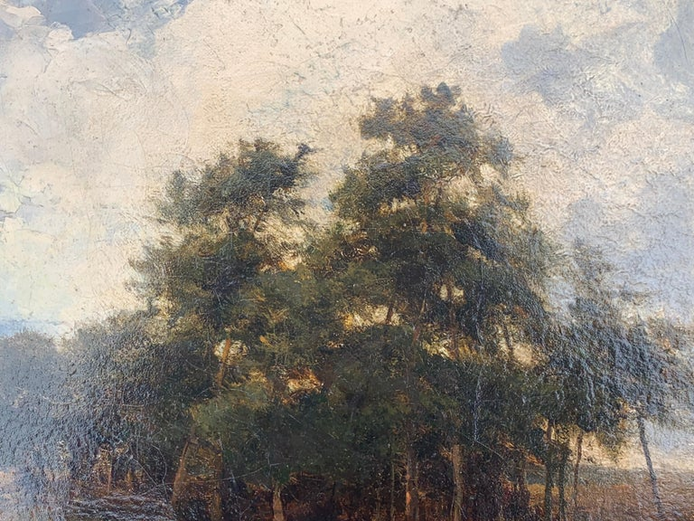 English Victorian 19th century Landscape with figures resting in heathland For Sale 1