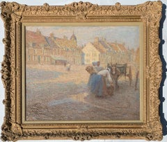19th century Impressionist French town scene with horse and cart, Breton