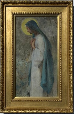 English Victorian Pre-Raphaelite portrait of a Madonna or Religious Nun figure