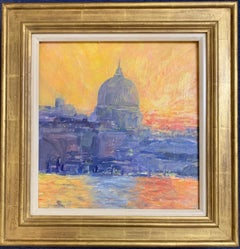 English Impressionist View from the Thames River of St. Pauls at Sunset London