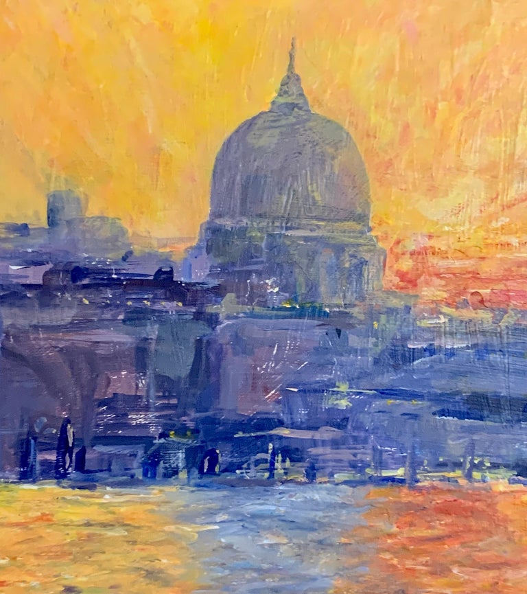 English Impressionist View from the Thames River of St. Pauls at Sunset London - Painting by David J Brooker
