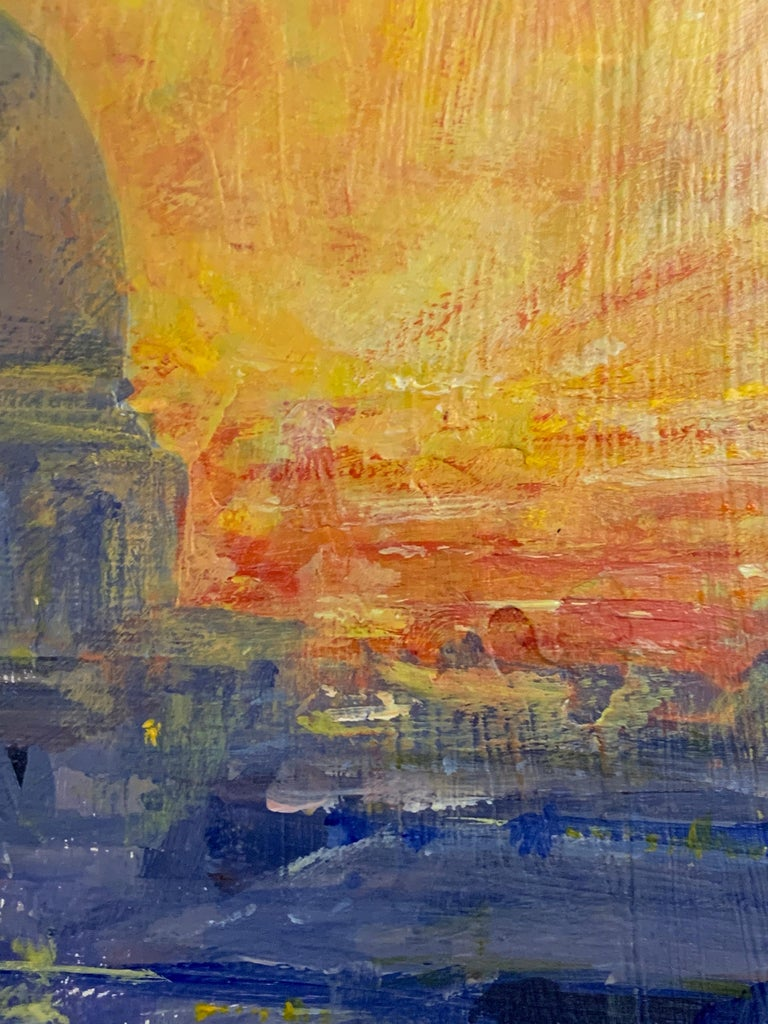 English Impressionist View from the Thames River of St. Pauls at Sunset London For Sale 3