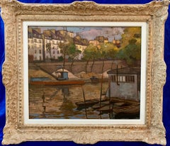 French Early 20th century view from the Seine Paris with an artist barge boat