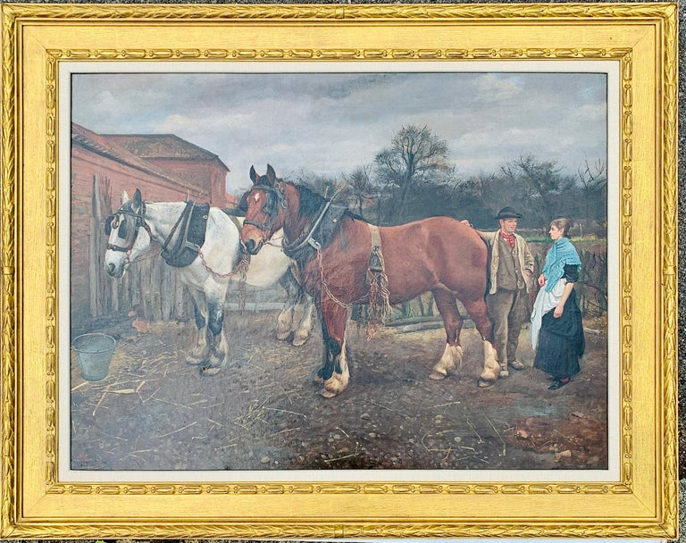 Edward William Millner Figurative Painting - Victorian English 19th century farm yard scene with Shire Horses and a couple