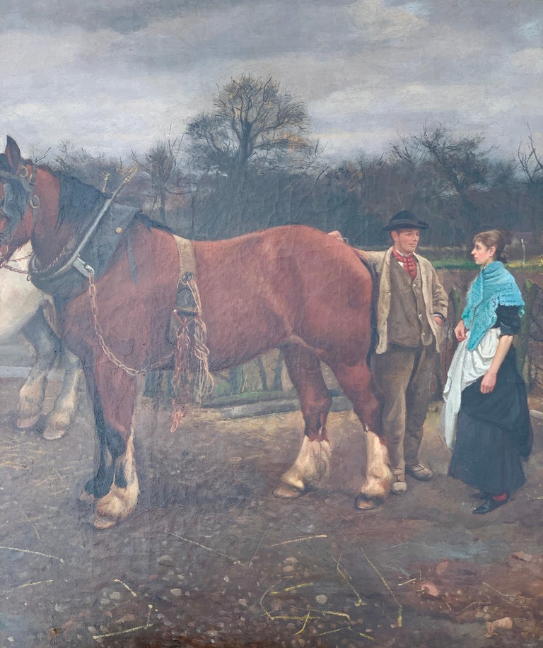 Victorian English 19th century farm yard scene with Shire Horses and a couple - Brown Figurative Painting by Edward William Millner