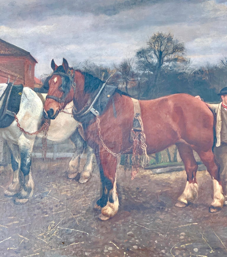 Victorian English 19th century farm yard scene with Shire Horses and a couple - Painting by Edward William Millner
