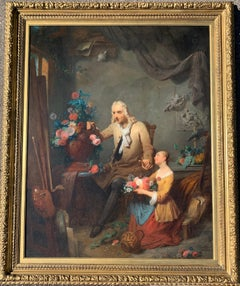 Flemish 19thC Portrait of an Artist in his studio with a young girl, flowers