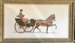 Pair of English Impressionist Horse and Buggy scenes with drivers