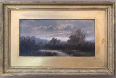 English Victorian 19th century Autumn River landscape with trees