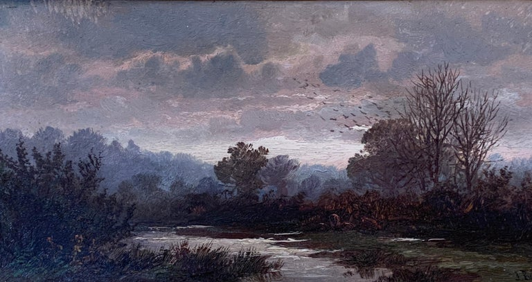 English Victorian 19th century Autumn River landscape with trees - Painting by John Barrett