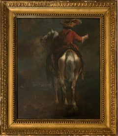 Dutch or Flemish early  18th Cavalier horseman on horse back old master