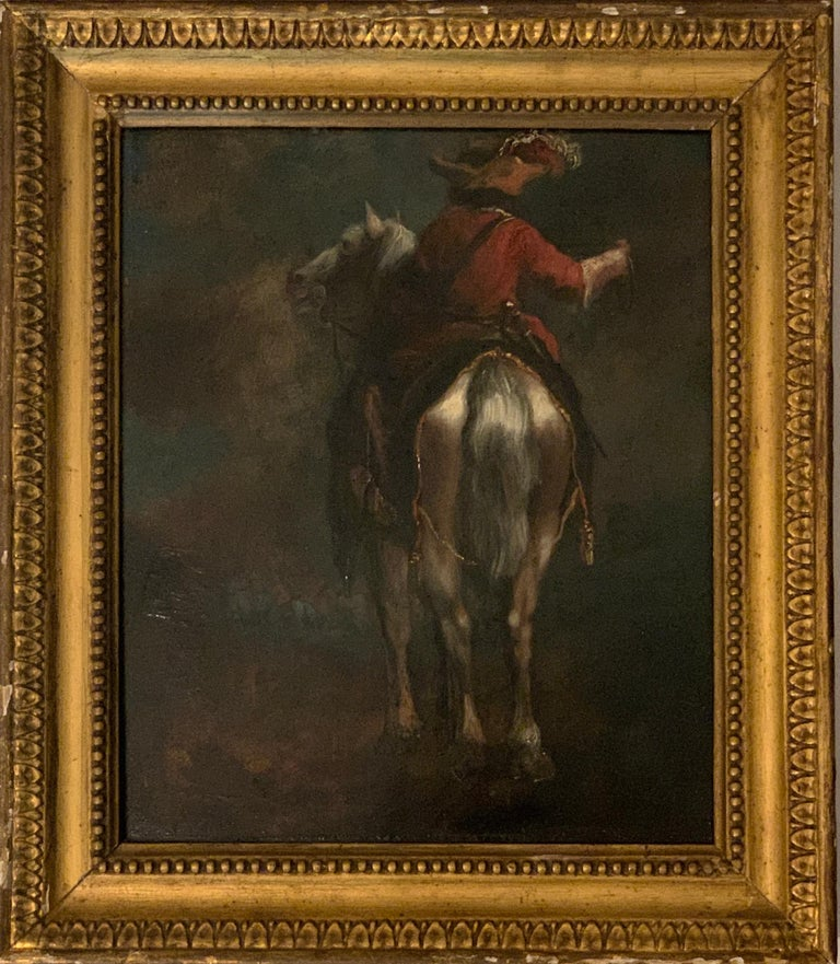 Dutch School, 18th Century Figurative Painting - Dutch or Flemish early  18th Cavalier horseman on horse back old master