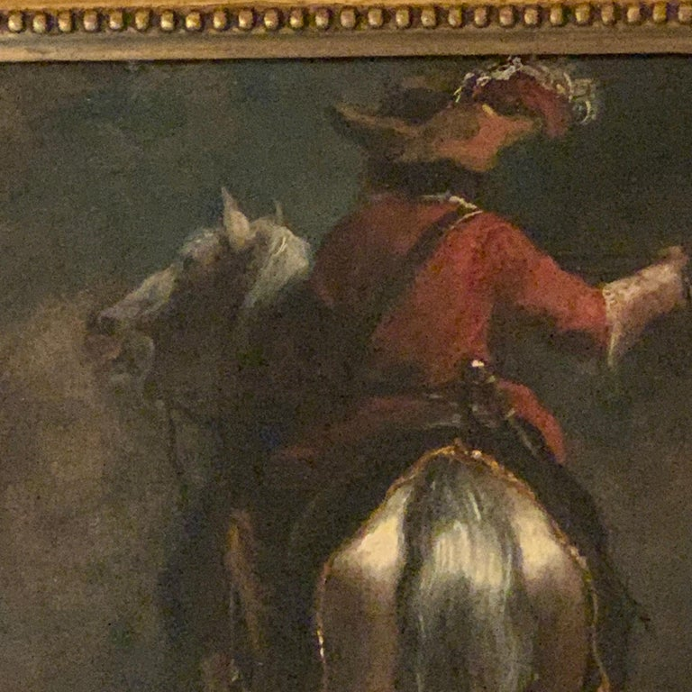 Dutch or Flemish early  18th Cavalier horseman on horse back old master - Painting by Dutch School, 18th Century